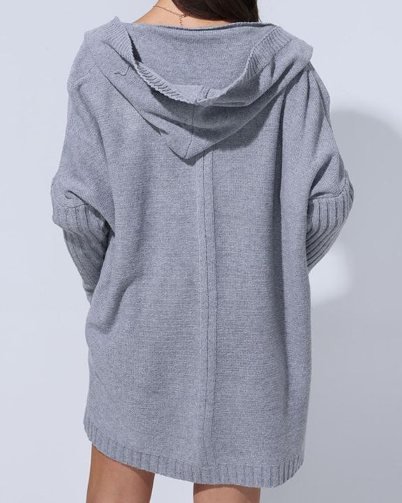 Solid Open Front Hooded Cardigan gallery 7