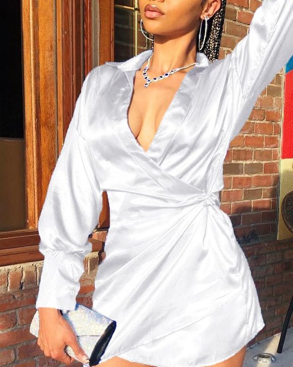 Solid Satin Wrap Over Mini Dress gallery 1