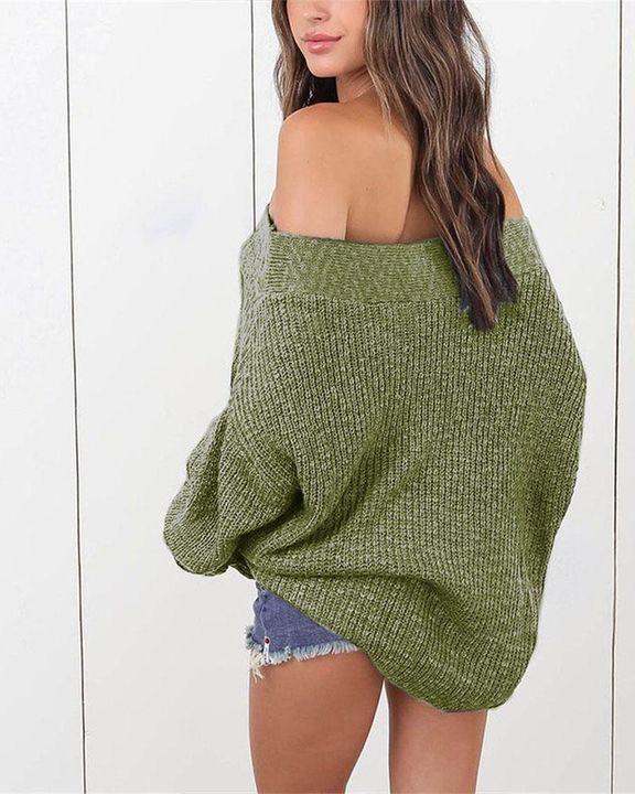 Boat Neck Drop Shoulder Oversized Sweater gallery 3