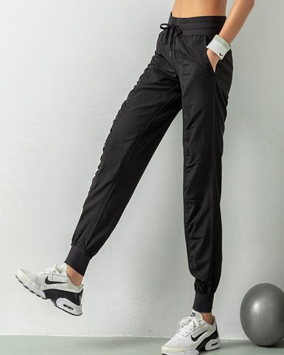 Quick Dry Drawstring Waist Ruched Front Sports Pants gallery 8