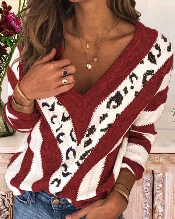 Leopard Print Drop Shoulder V Neck Sweater gallery 2