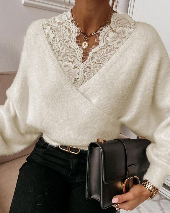 Lace Panel Drop Shoulder Sweater gallery 2