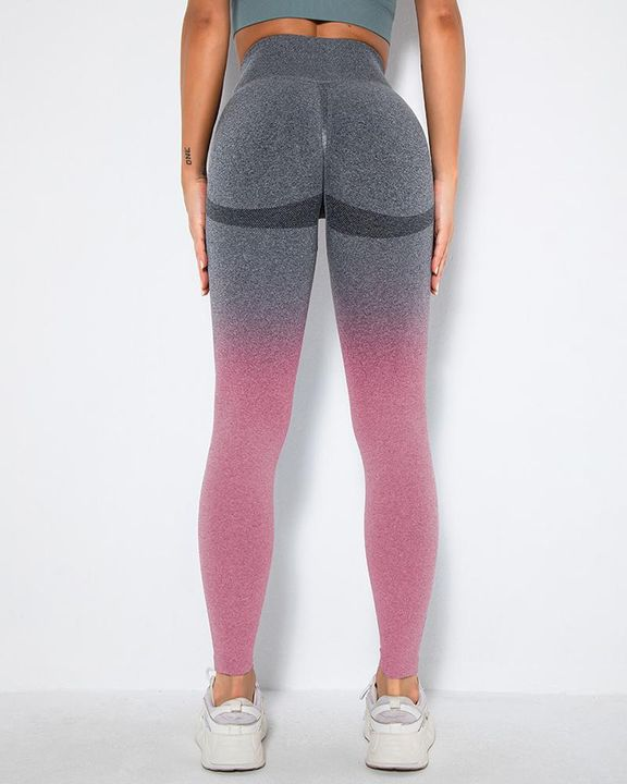 Ombre Space Dye Seamless Butt Lifting Sports Leggings gallery 12