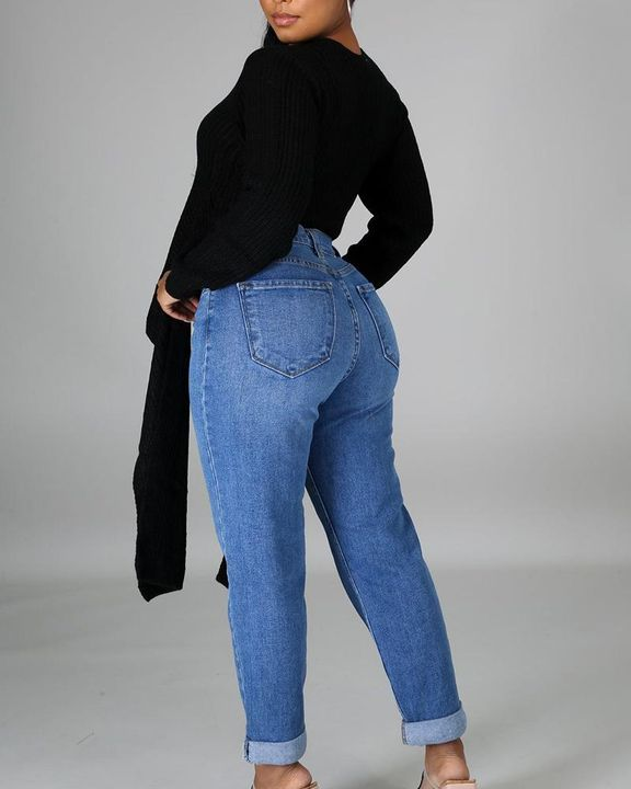Chunky Knit Split Hem V Neck Sweater gallery 9