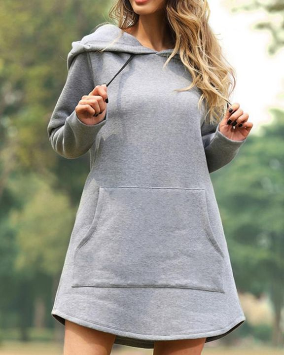 Solid Kangaroo Pocket Drawstring Mini Hooded Dress gallery 1