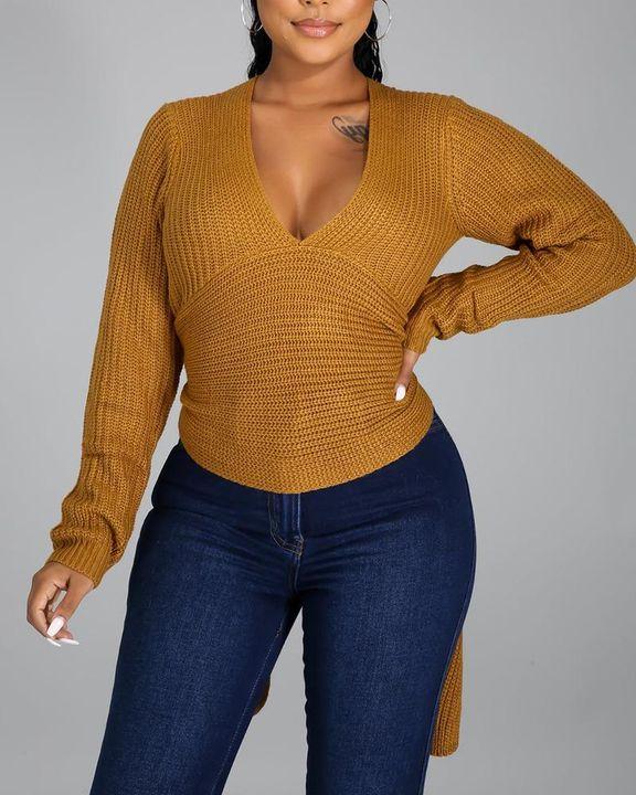 Chunky Knit Split Hem V Neck Sweater gallery 1