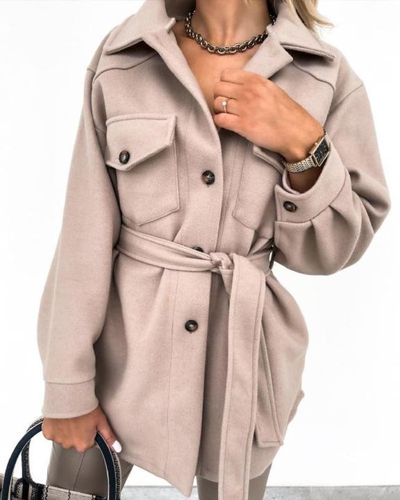 Self-Belted Flap Pocket Button Up Coat gallery 9
