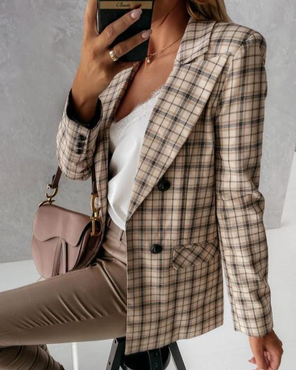 Double Breasted Pocket Detail Lapel Neck Blazer gallery 8