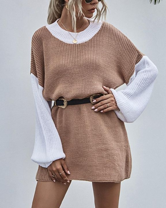 Colorblock Chunky Knit Drop Bishop Sleeve Sweater gallery 3