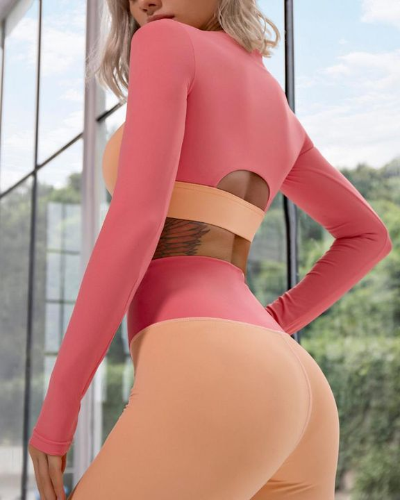 Colorblock Zip Up Cutout Front Crop Sports Jacket gallery 6