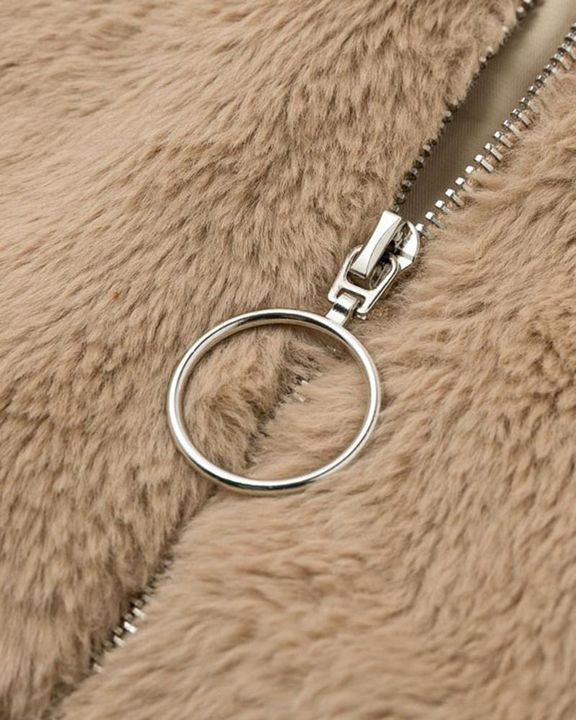 Solid Zip Up Collar Teddy Jacket gallery 9