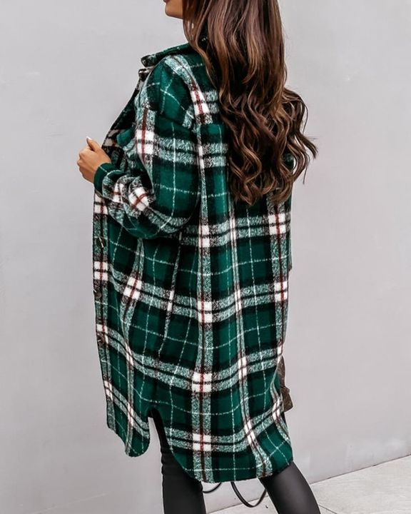 Plaid Print Patch Pocket Button Up Teddy Coat gallery 9