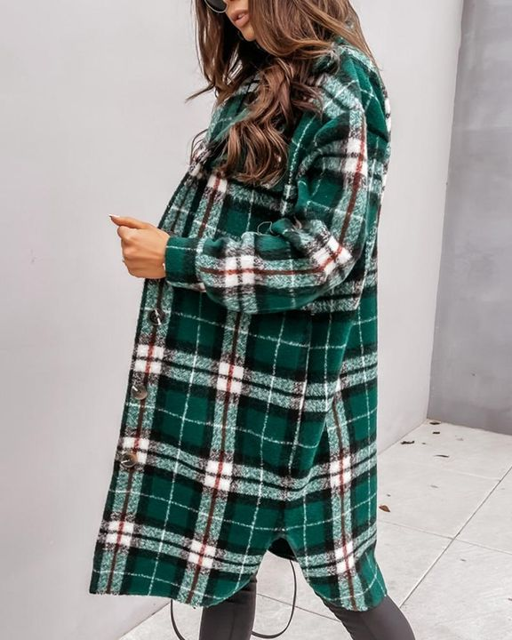 Plaid Print Patch Pocket Button Up Teddy Coat gallery 8
