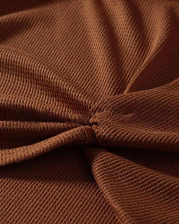 Cheetah Panel Colorblock Twist Front Drop Bishop Sleeve Sweater gallery 7