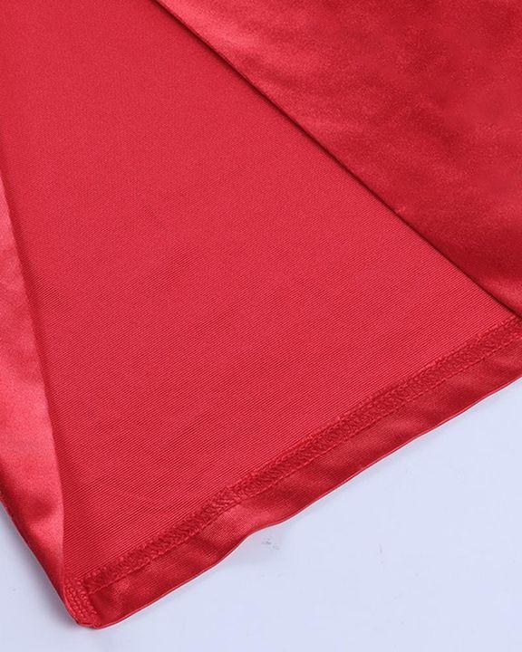 Satin Split Thigh Wrap Midi Dress gallery 9