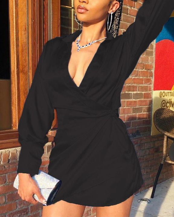 Solid Satin Wrap Over Mini Dress gallery 3