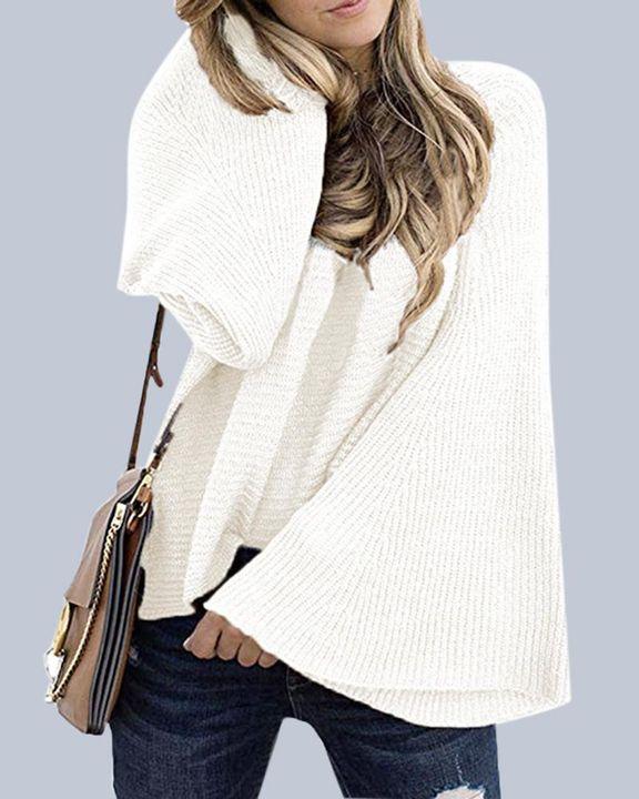 Solid Bell Sleeve Scoop Neck Sweater gallery 4