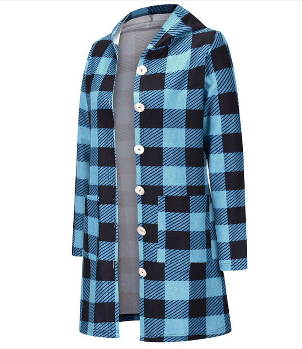 Gingham Button Through Pocket Front Hooded Coat gallery 7