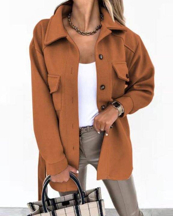 Self-Belted Flap Pocket Button Up Coat gallery 8
