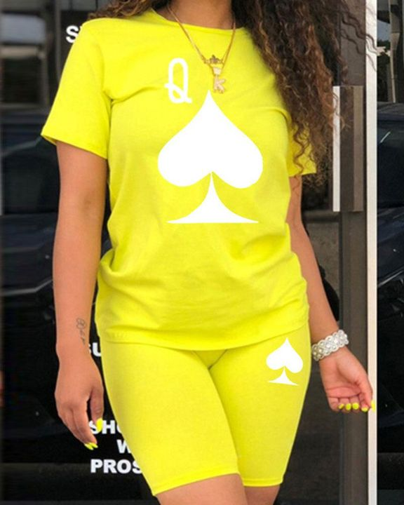 Playing Card Print Round Neck Top & Shorts Set gallery 1