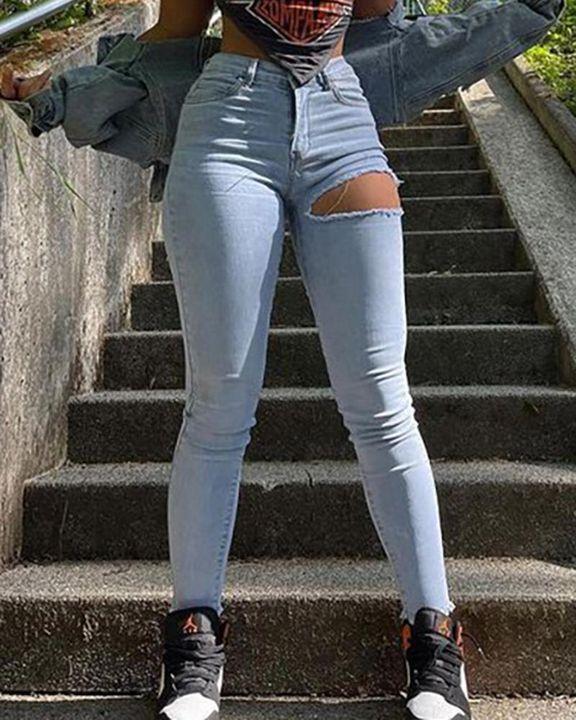 Cutout Raw Hem High Waist Skinny Jeans gallery 1