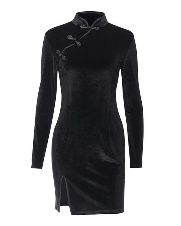 Velvet Split Hem Long Sleeve Qipao Style Dress gallery 1