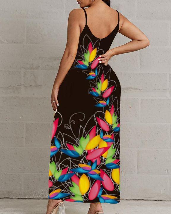 Lips & Floral Print V Neck Cami Maxi Dress gallery 4