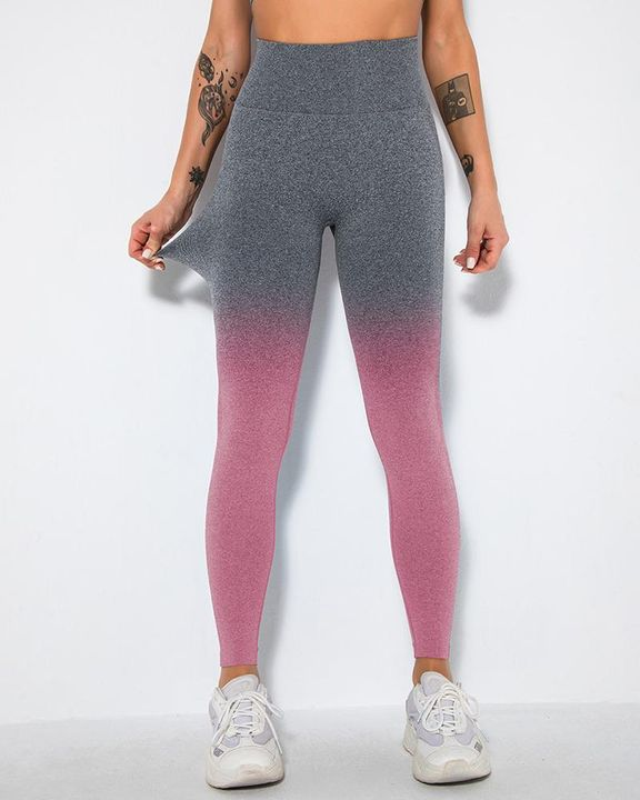 Ombre Space Dye Seamless Butt Lifting Sports Leggings gallery 11