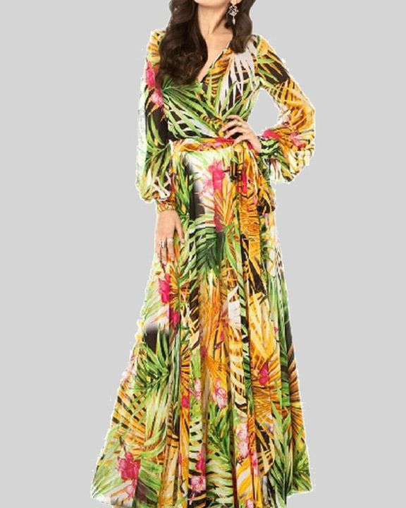 Tropical Print Belted Pleated Surplice Neck Maxi Dress gallery 3
