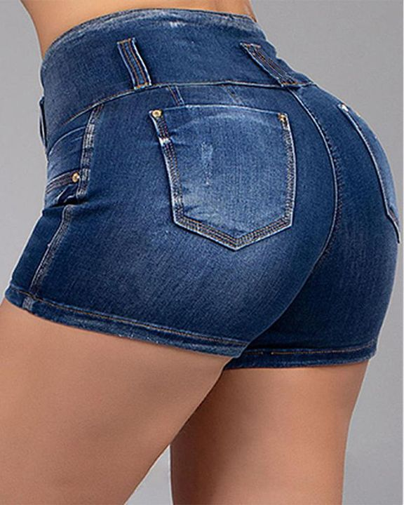 Button Front Butt Lifting Denim Shorts gallery 2
