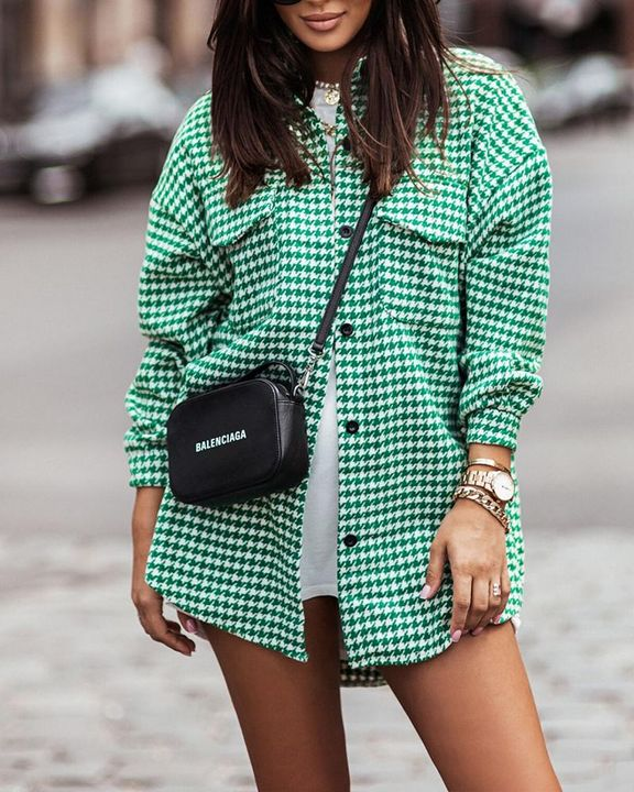 Houndstooth Print Flap Pocket Button Up Coat gallery 3