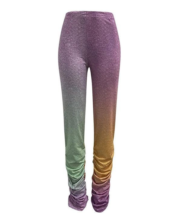Ombre Stacked Ruched Mid Waist Pants gallery 2