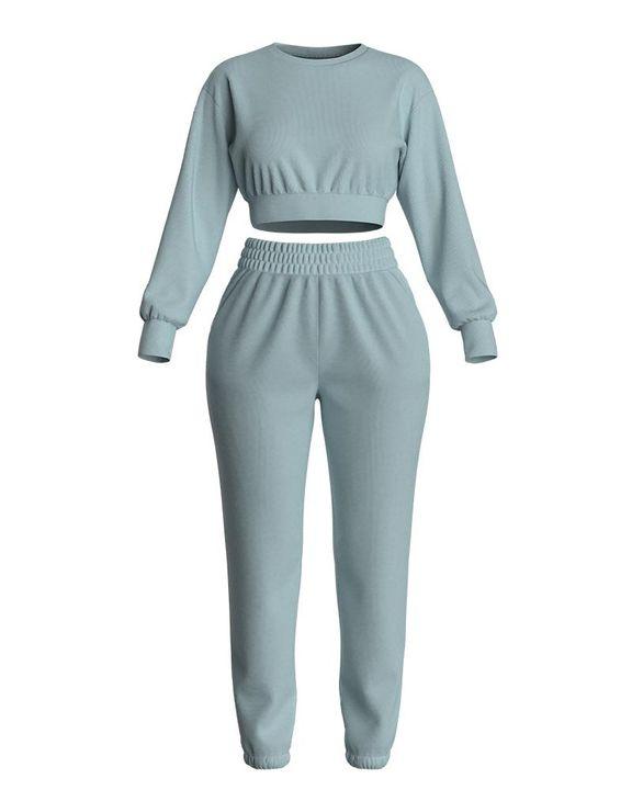 Solid Ribbed Long Sleeve Crop Top & Pants Set gallery 18