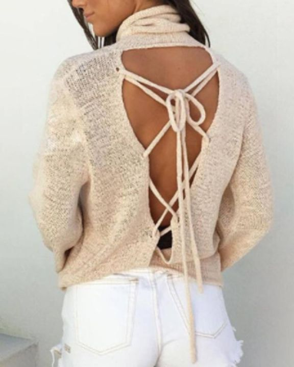 High Neck Lace Up Back Bell Sleeve Sweater gallery 1