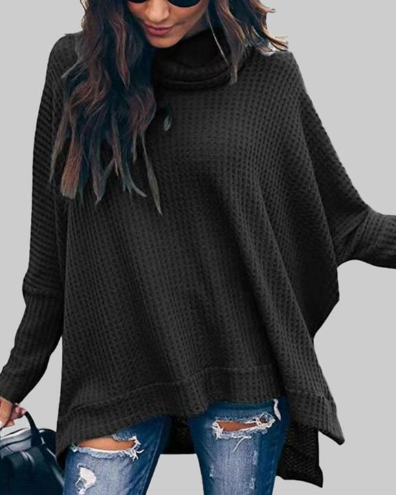 Solid Split Hem High Neck Sweater gallery 7