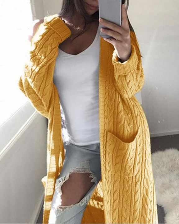 Solid Patch Pocket Open Front Cable Knit Cardigan gallery 4