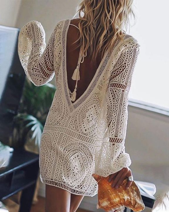 Lace Hollow Out Cut Out Back Mini Dress gallery 1