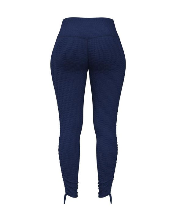 Knot Side Textured Wide Waistband Sports Leggings gallery 7
