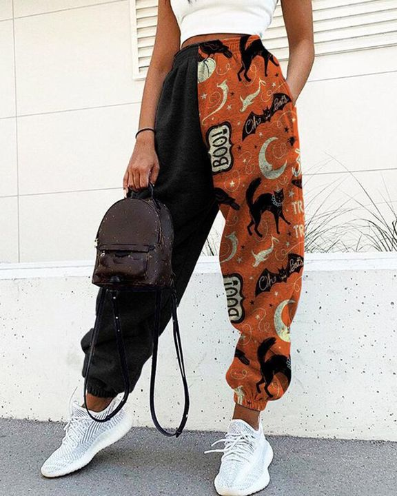Colorblock & Halloween Graphic Pattern Dual Pocket Joggers gallery 1