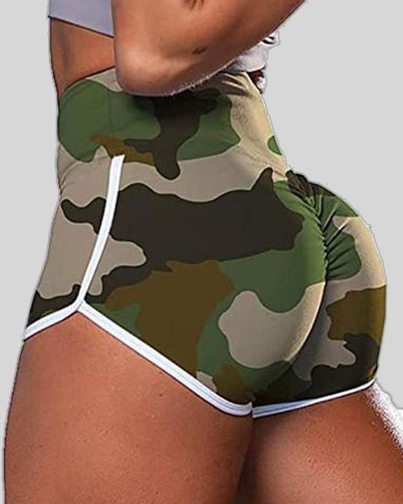 Allover Print Contrast Binding High Waist Sports Shorts gallery 1