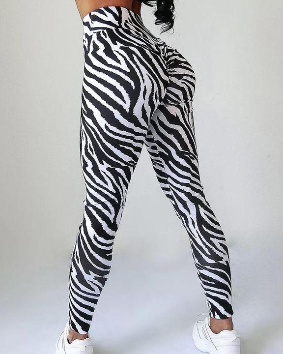 Zebra Striped Butt Lifting Sports Leggings gallery 2