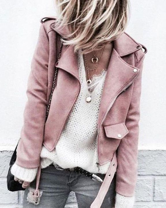 Suede Zip Up Flap Pocket Belted Moto Jacket gallery 1