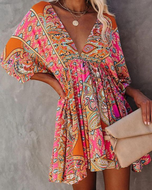Tribal Print Ruffle Hem Tie Back Short Dress gallery 2