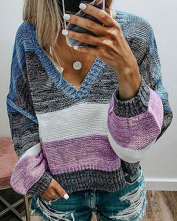 Colorblock Mixed Knit Drop Bishop Sleeve Sweater gallery 3
