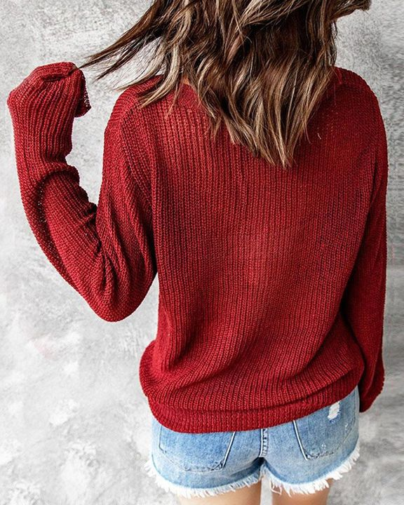 Chunky Knit Button Decor Sweater gallery 2