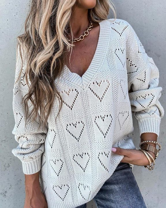 Heart Pattern Hollow Out Rib-Knit Sweater gallery 4