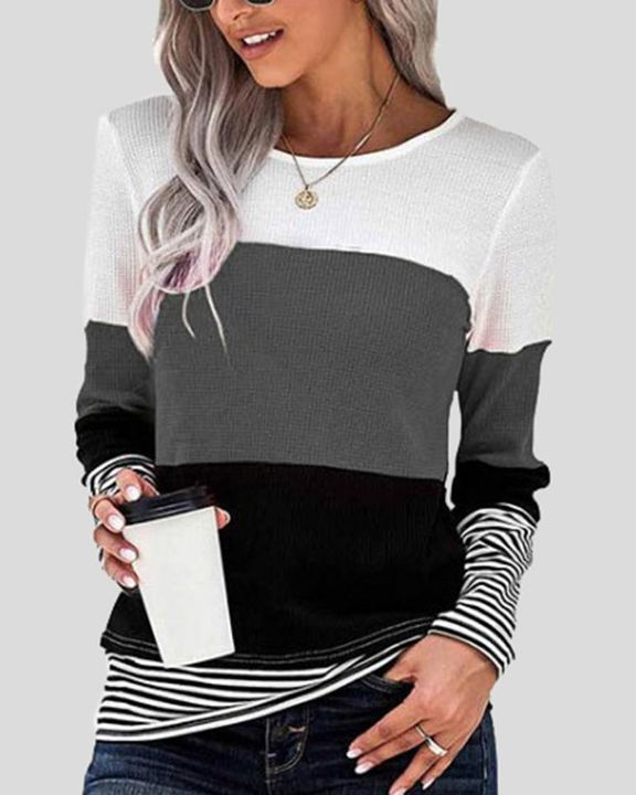 Colorblock Striped Print Round Neck Sweater gallery 2