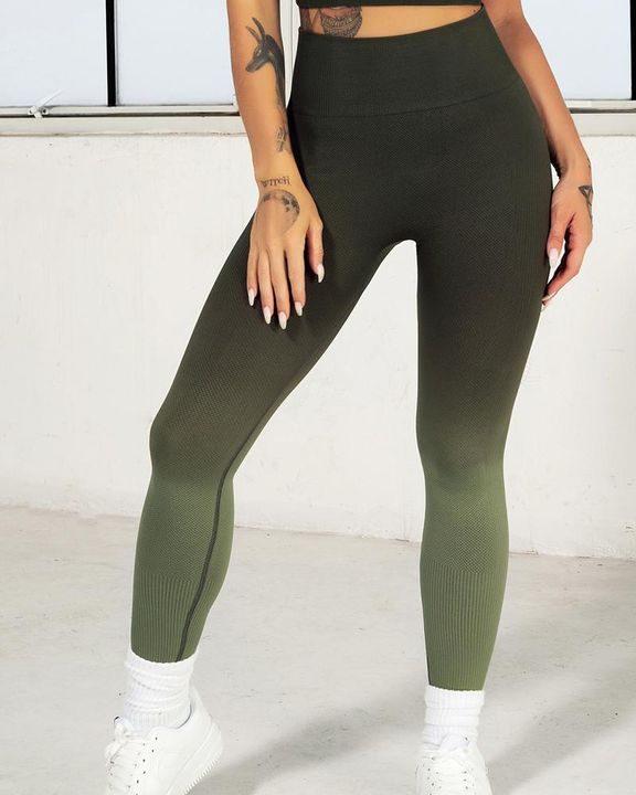 Ombre Wide Waistband Butt Lifting Sports Leggings gallery 18