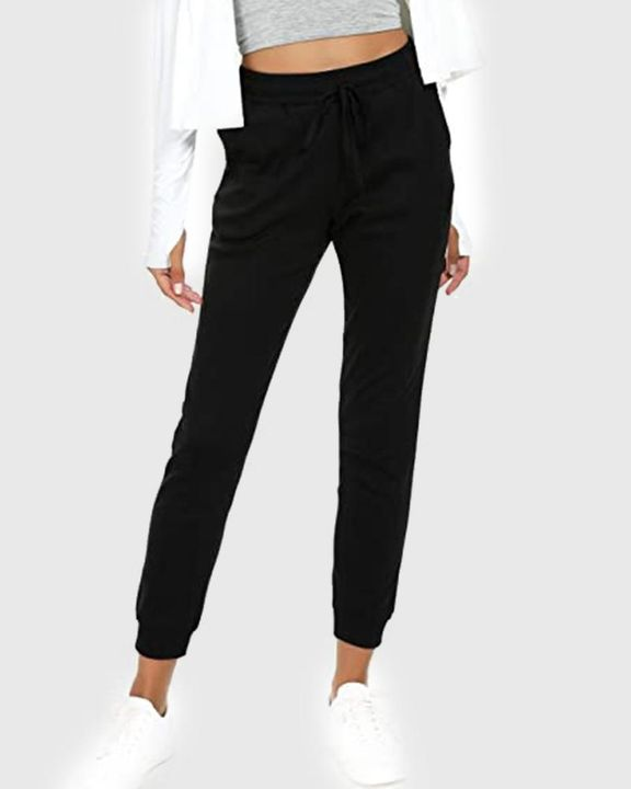Solid Drawstring Front Pocket Detail Sports Pants gallery 4