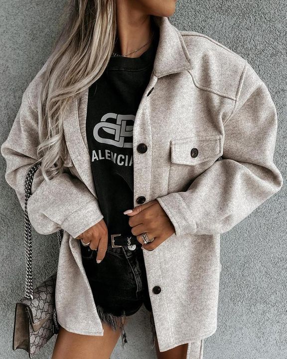 Solid Button Up Flap Pocket Collar Coat gallery 2